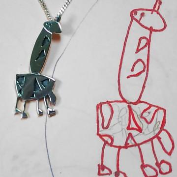 Giraffe met tekening